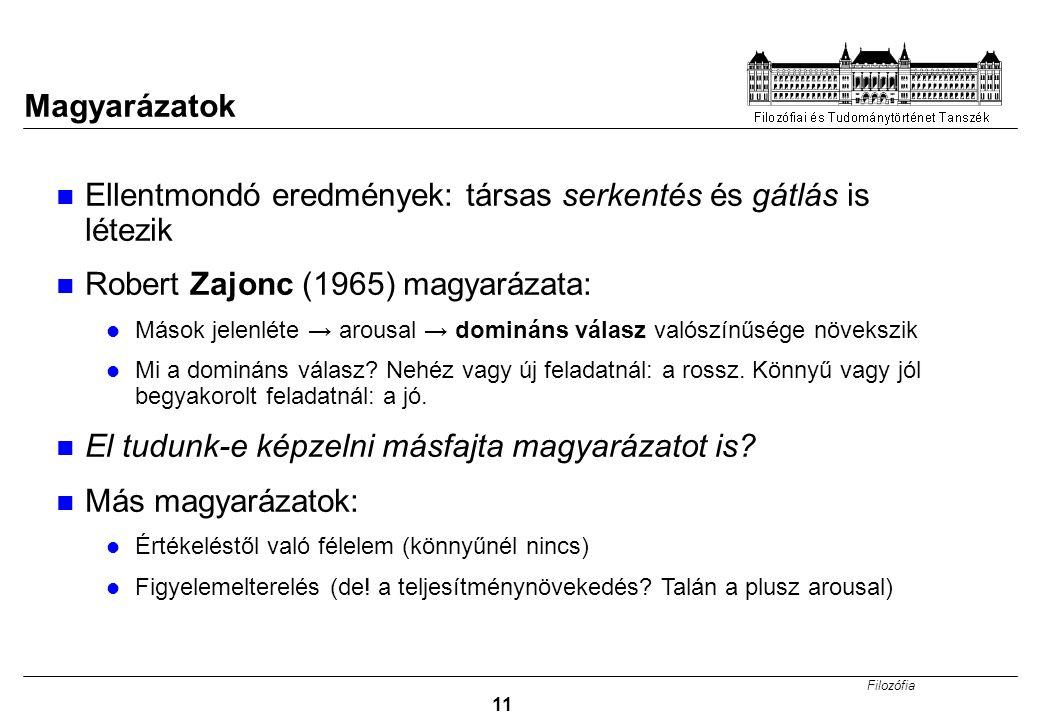 Filozófia 11 Magyarázatok Ellentmondó eredmények: társas serkentés és gátlás is létezik Robert Zajonc (1965) magyarázata: Mások jelenléte → arousal →
