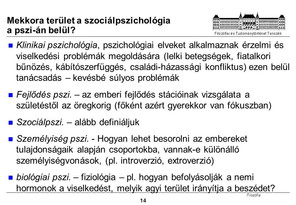 Filozófia 14 Mekkora terület a szociálpszichológia a pszi-án belül? Klinikai pszichológia, pszichológiai elveket alkalmaznak érzelmi és viselkedési pr