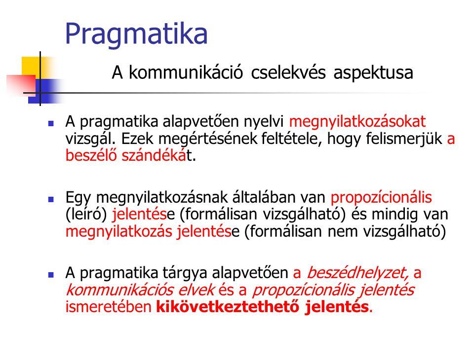 Pragmatika A kommunikáció cselekvés aspektusa A pragmatika alapvetően nyelvi megnyilatkozásokat vizsgál. Ezek megértésének feltétele, hogy felismerjük