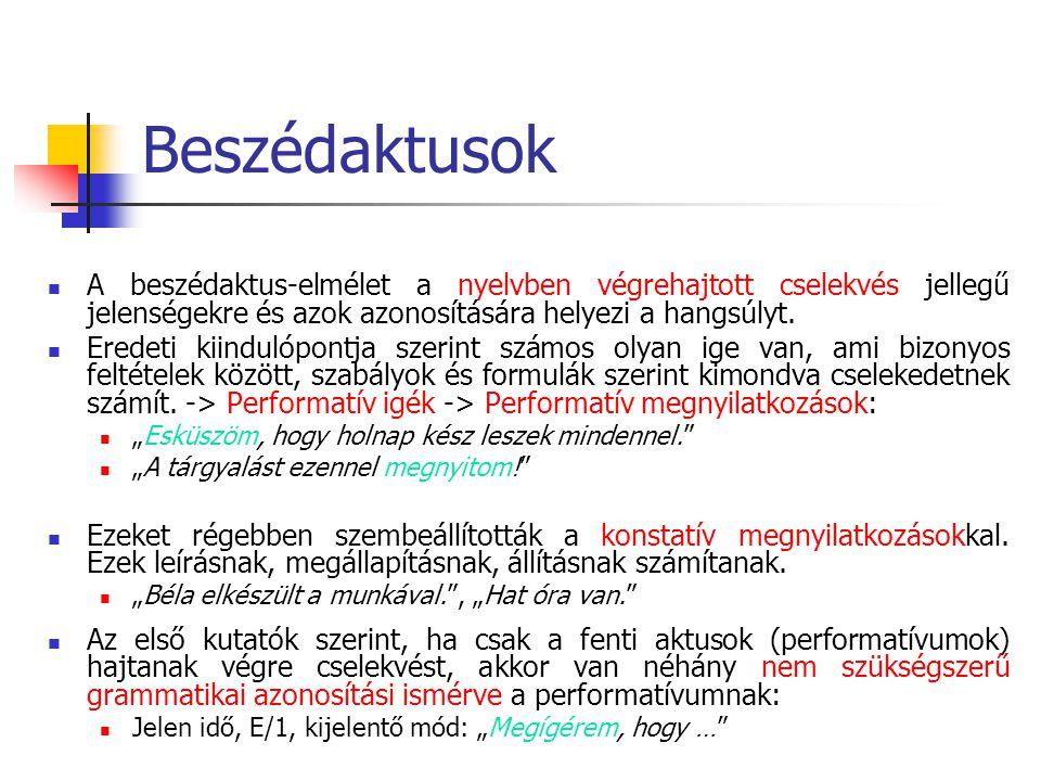 Beszédaktusok A beszédaktusok a nyelv társadalmi, intézményes-konvencionális területét képviselik.