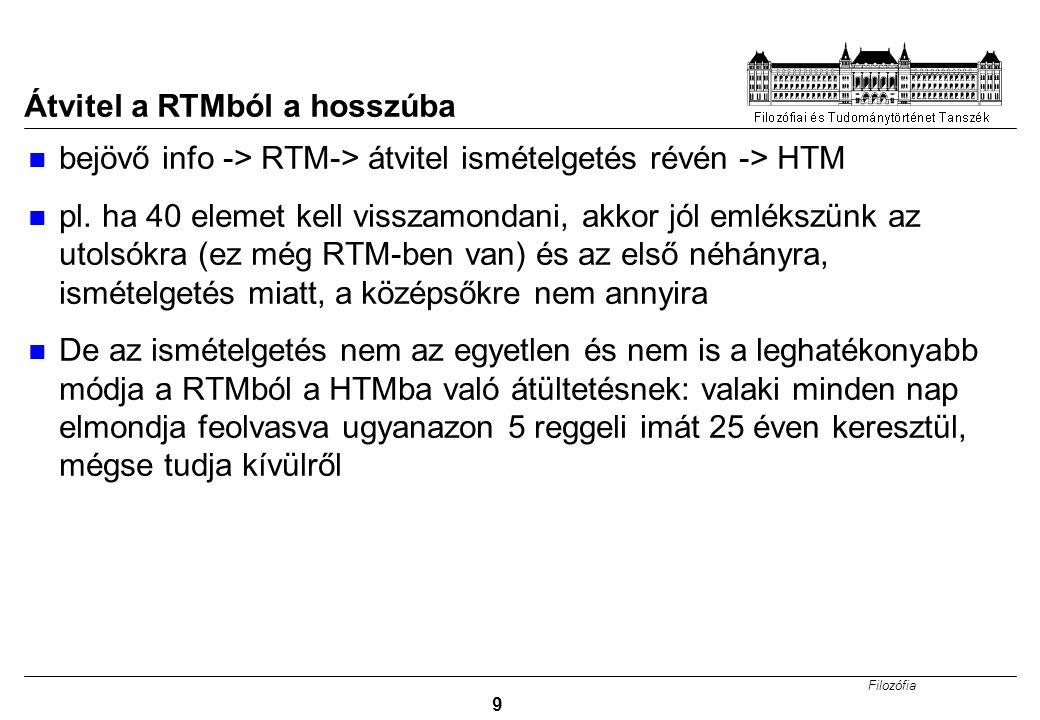 Filozófia 9 Átvitel a RTMból a hosszúba bejövő info -> RTM-> átvitel ismételgetés révén -> HTM pl. ha 40 elemet kell visszamondani, akkor jól emlékszü