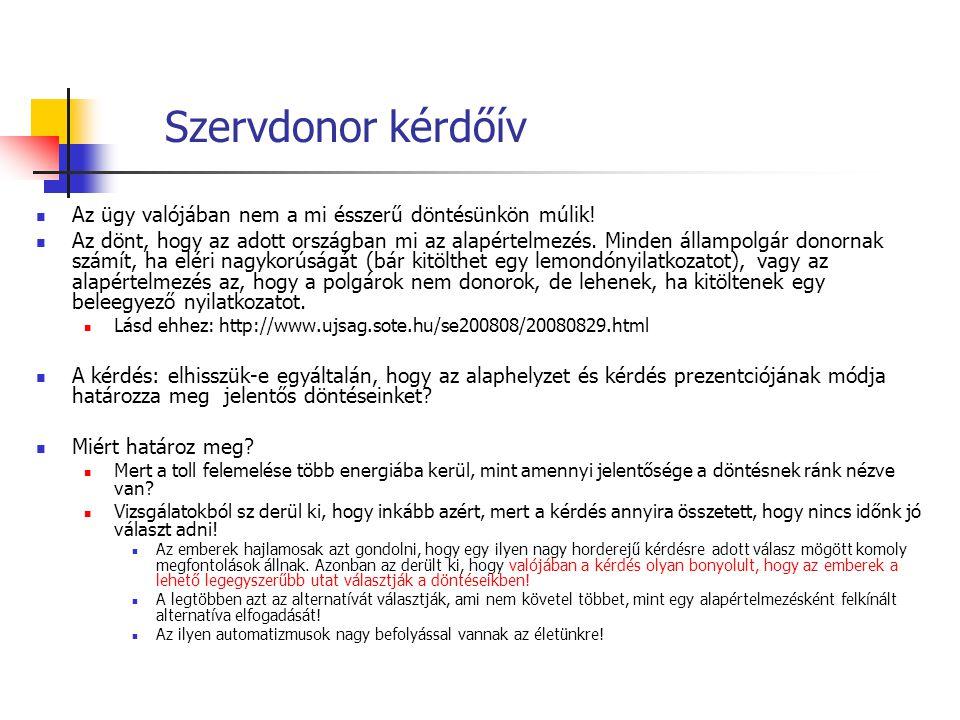 Szervdonor kérdőív Az ügy valójában nem a mi ésszerű döntésünkön múlik! Az dönt, hogy az adott országban mi az alapértelmezés. Minden állampolgár dono
