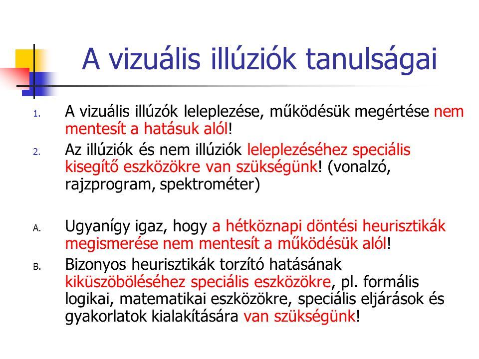 A vizuális illúziók tanulságai 1. A vizuális illúzók leleplezése, működésük megértése nem mentesít a hatásuk alól! 2. Az illúziók és nem illúziók lele