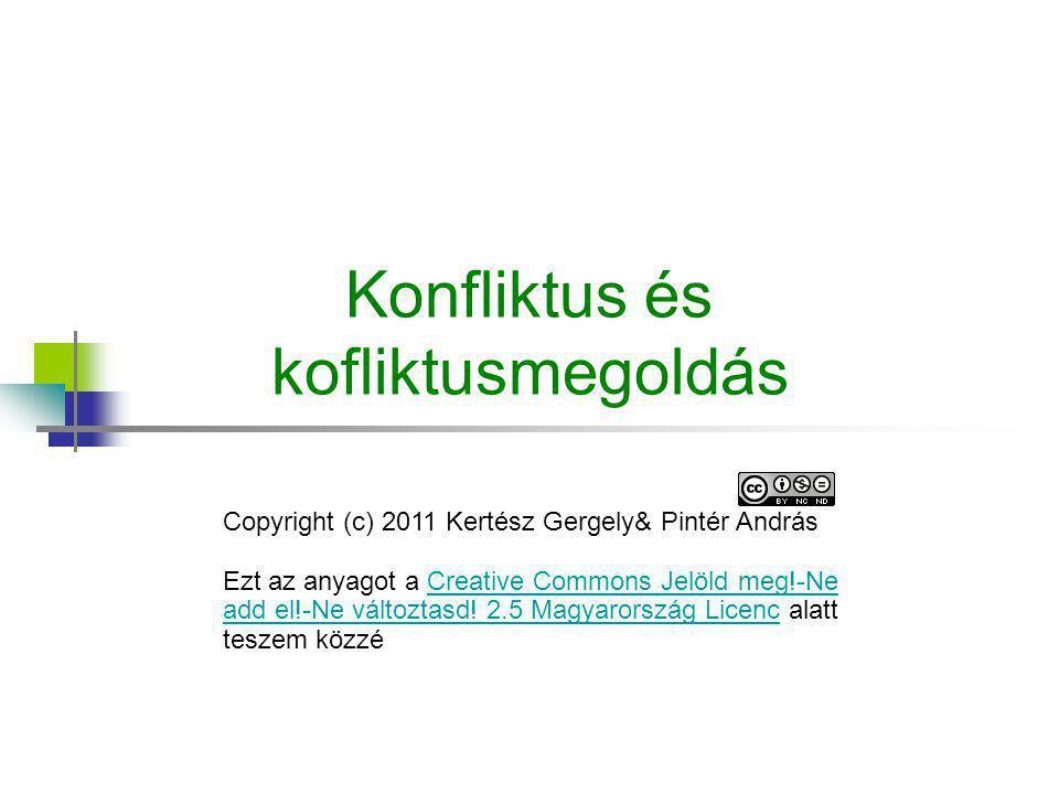 Konfliktus és kofliktusmegoldás Copyright (c) 2011 Kertész Gergely& Pintér András Ezt az anyagot a Creative Commons Jelöld meg!-Ne add el!-Ne változta