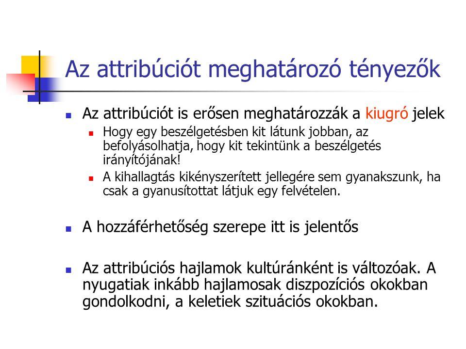 Az attribúciót meghatározó tényezők Az attribúciót is erősen meghatározzák a kiugró jelek Hogy egy beszélgetésben kit látunk jobban, az befolyásolhatja, hogy kit tekintünk a beszélgetés irányítójának.