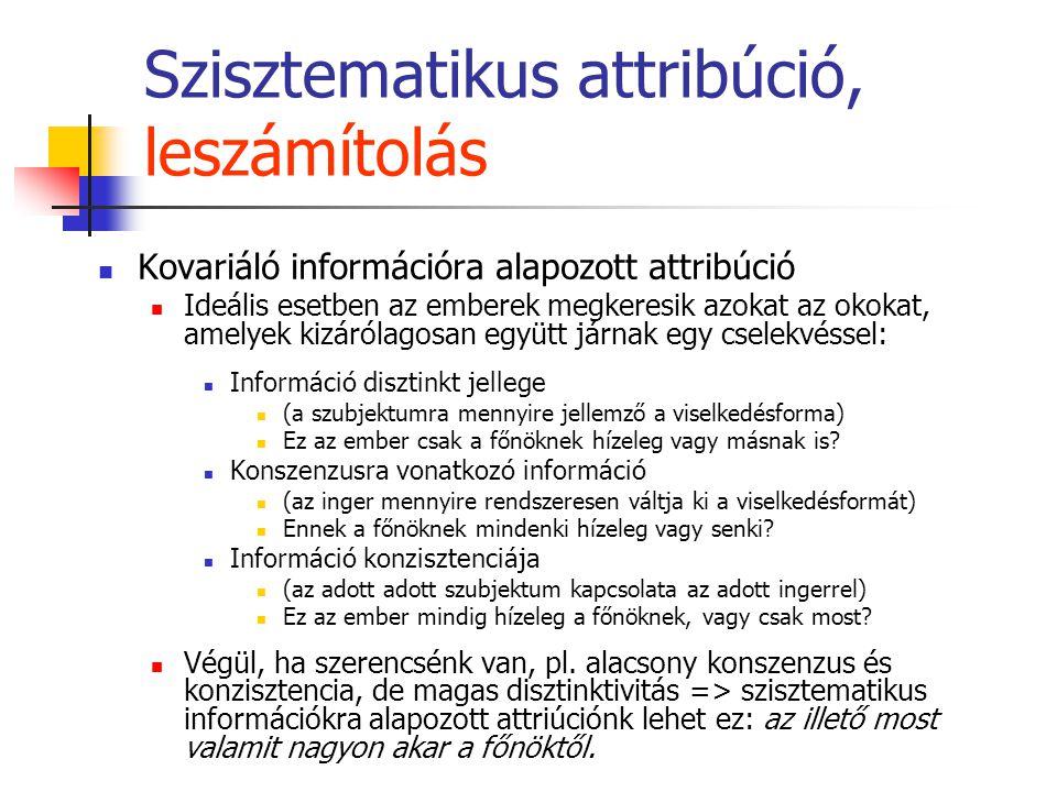 Szisztematikus attribúció, leszámítolás Kovariáló információra alapozott attribúció Ideális esetben az emberek megkeresik azokat az okokat, amelyek kizárólagosan együtt járnak egy cselekvéssel: Információ disztinkt jellege (a szubjektumra mennyire jellemző a viselkedésforma) Ez az ember csak a főnöknek hízeleg vagy másnak is.