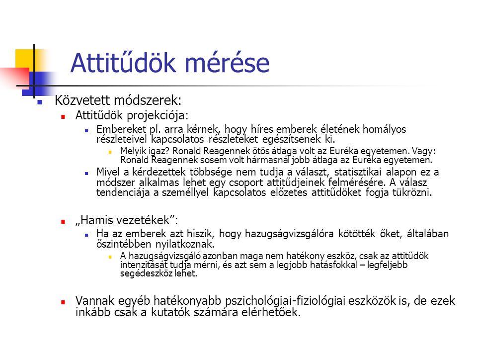 Attitűdök mérése Közvetett módszerek: Attitűdök projekciója: Embereket pl.
