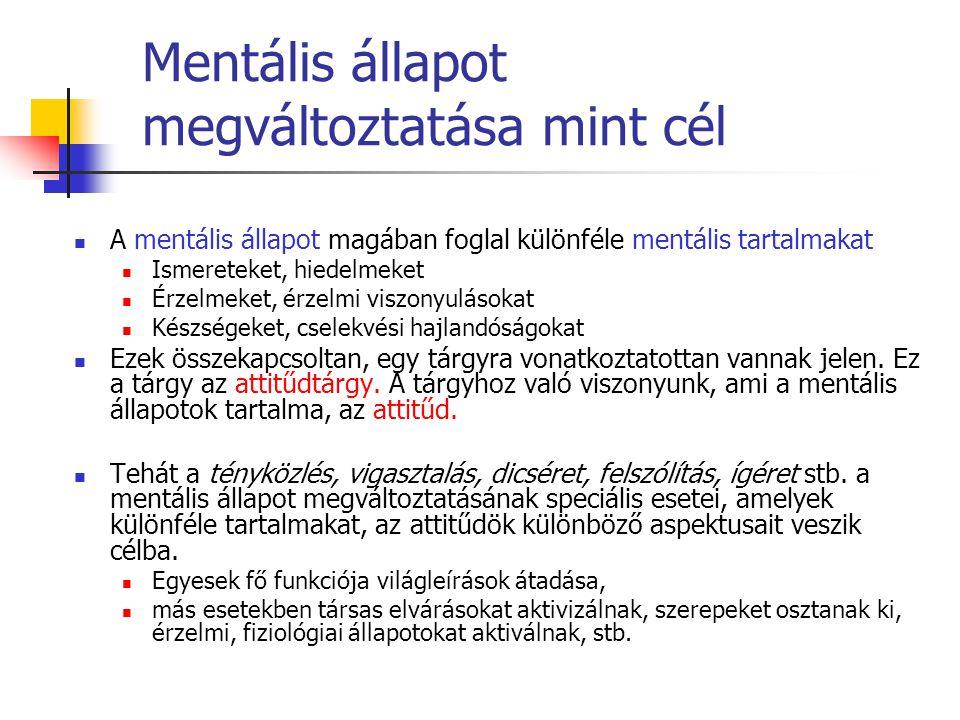 A mentális állapot magában foglal különféle mentális tartalmakat Ismereteket, hiedelmeket Érzelmeket, érzelmi viszonyulásokat Készségeket, cselekvési
