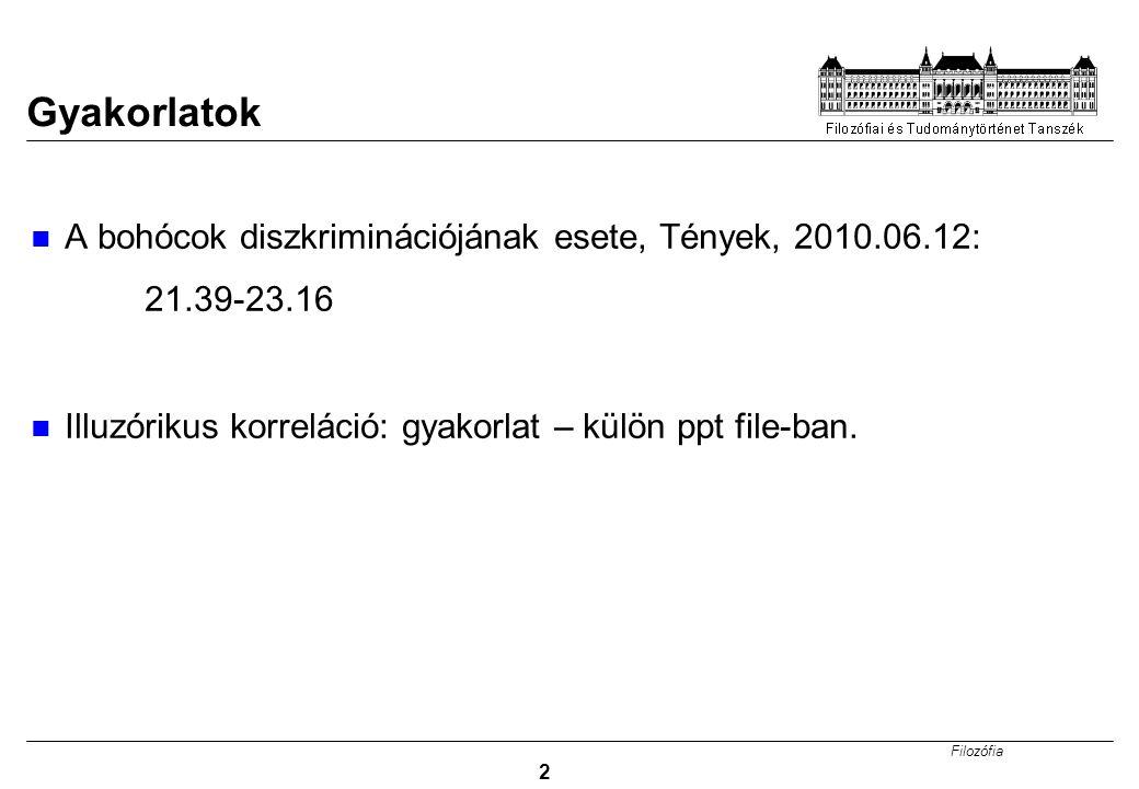 Filozófia 2 Gyakorlatok A bohócok diszkriminációjának esete, Tények, 2010.06.12: 21.39-23.16 Illuzórikus korreláció: gyakorlat – külön ppt file-ban.