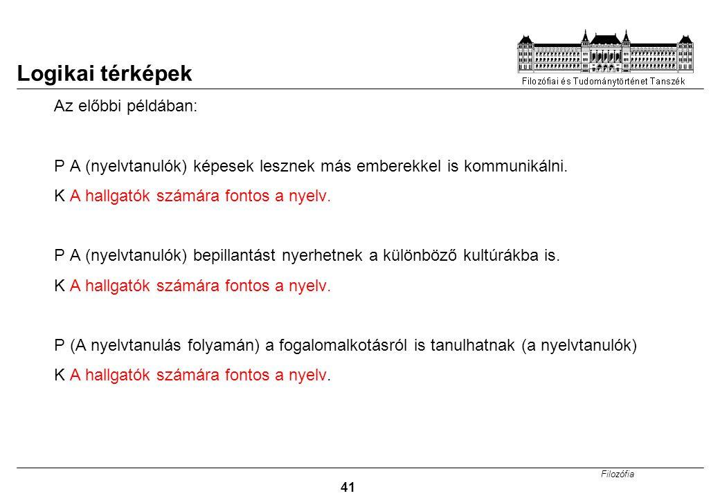 Filozófia 41 Logikai térképek Az előbbi példában: P A (nyelvtanulók) képesek lesznek más emberekkel is kommunikálni.