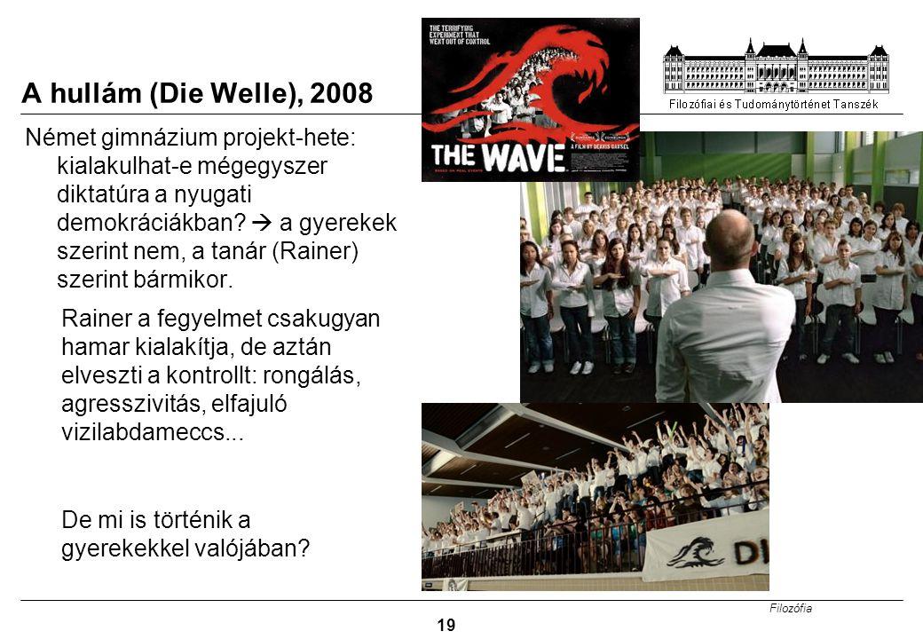 Filozófia 19 A hullám (Die Welle), 2008 Német gimnázium projekt-hete: kialakulhat-e mégegyszer diktatúra a nyugati demokráciákban?  a gyerekek szerin