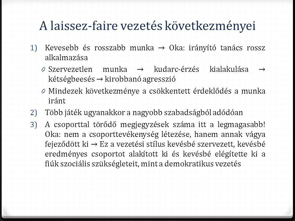 A laissez-faire vezetés következményei 1) Kevesebb és rosszabb munka → Oka: irányító tanács rossz alkalmazása 0 Szervezetlen munka → kudarc-érzés kial
