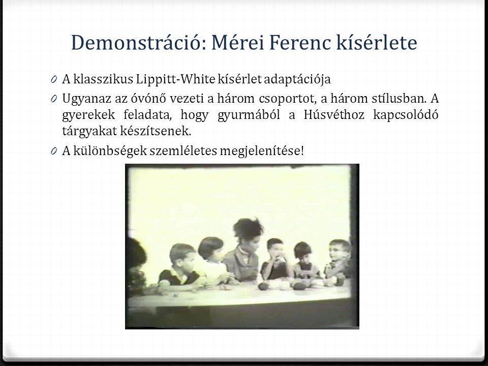 Demonstráció: Mérei Ferenc kísérlete 0 A klasszikus Lippitt-White kísérlet adaptációja 0 Ugyanaz az óvónő vezeti a három csoportot, a három stílusban.