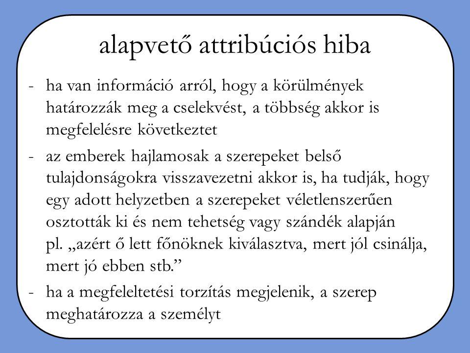 alapvető attribúciós hiba -ha van információ arról, hogy a körülmények határozzák meg a cselekvést, a többség akkor is megfelelésre következtet -az em