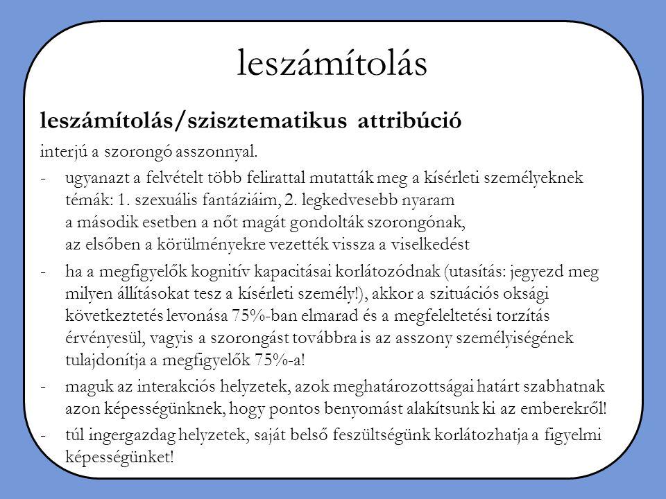 leszámítolás leszámítolás/szisztematikus attribúció interjú a szorongó asszonnyal. -ugyanazt a felvételt több felirattal mutatták meg a kísérleti szem