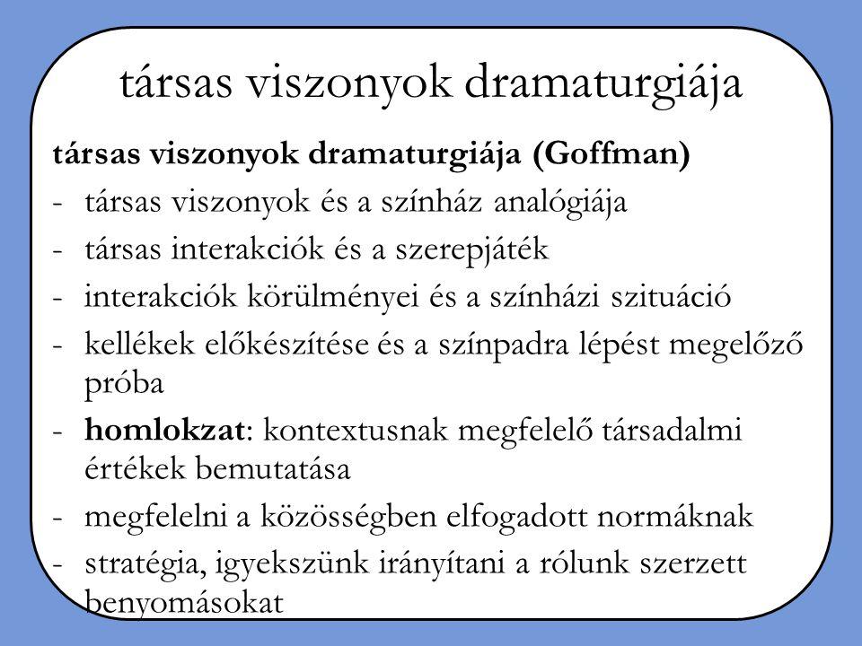 társas viszonyok dramaturgiája társas viszonyok dramaturgiája (Goffman) -társas viszonyok és a színház analógiája -társas interakciók és a szerepjáték