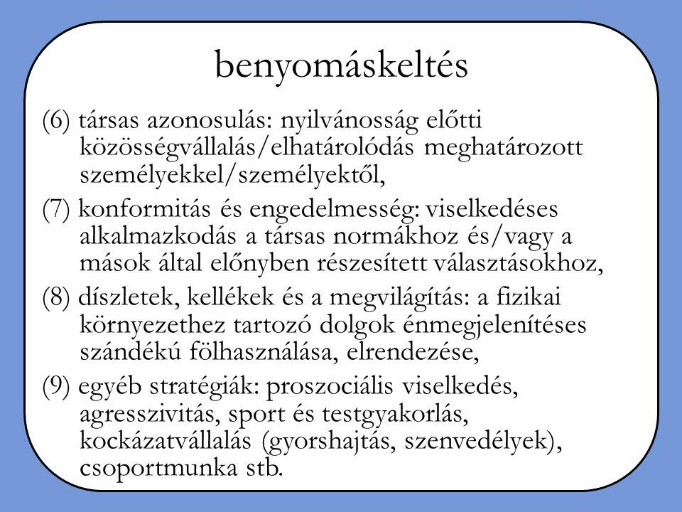 benyomáskeltés (6) társas azonosulás: nyilvánosság előtti közösségvállalás/elhatárolódás meghatározott személyekkel/személyektől, (7) konformitás és e