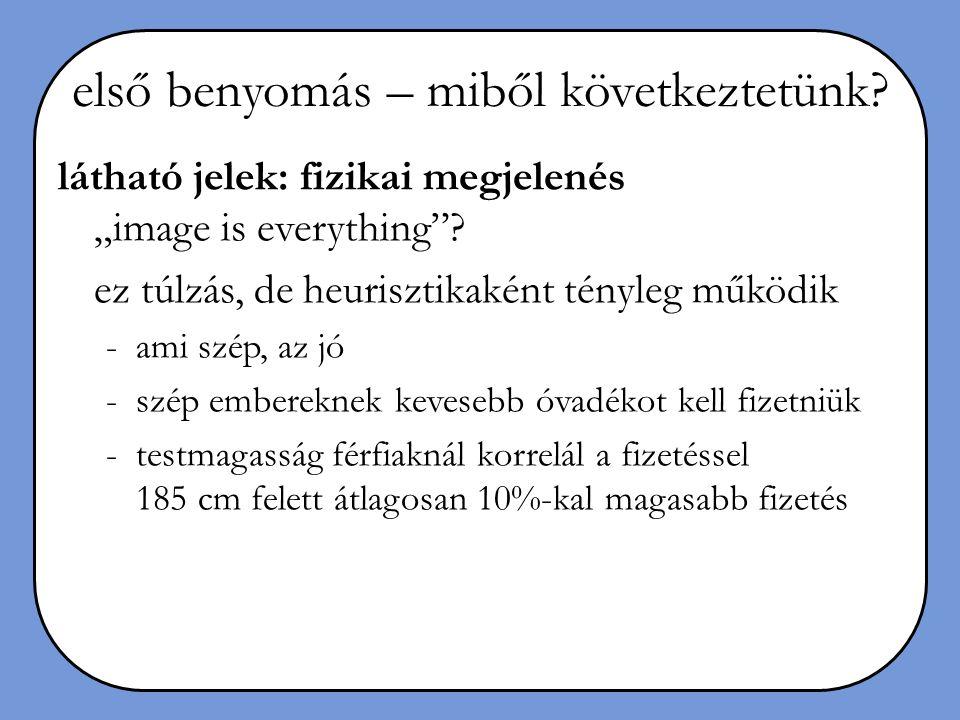 """első benyomás – miből következtetünk? látható jelek: fizikai megjelenés """"image is everything""""? ez túlzás, de heurisztikaként tényleg működik -ami szép"""