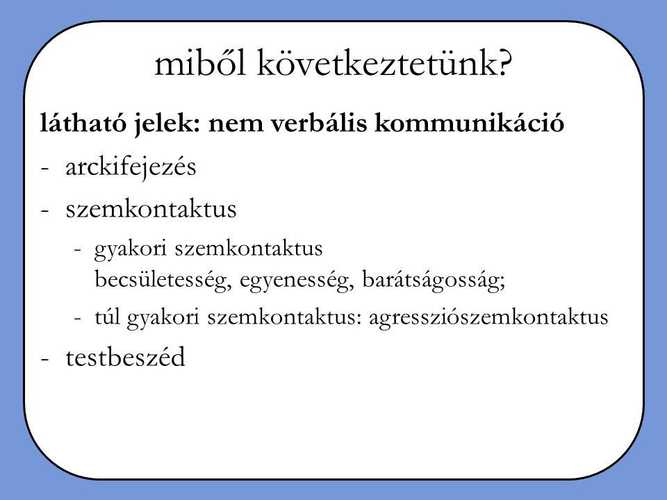 homlokzat (1)a tevékenységgel összeegyeztethetetlen motivációk eltitkolása, (2)a hibák elrejtése, (3)a végeredmény előtérbe helyezése a keletkezés folyamatának leplezésével, (4)a tisztátalan háttérmunkálatok elfedése, (5)egyes értékek föláldozása mások javára, (6)nemes indítékok kinyilvánítása.