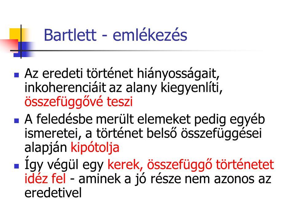 Bartlett - emlékezés Az eredeti történet hiányosságait, inkoherenciáit az alany kiegyenlíti, összefüggővé teszi A feledésbe merült elemeket pedig egyéb ismeretei, a történet belső összefüggései alapján kipótolja Így végül egy kerek, összefüggő történetet idéz fel - aminek a jó része nem azonos az eredetivel