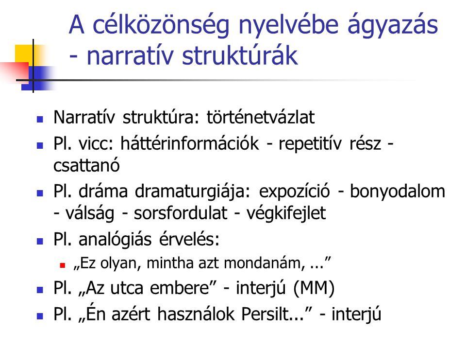 A célközönség nyelvébe ágyazás - narratív struktúrák Narratív struktúra: történetvázlat Pl.