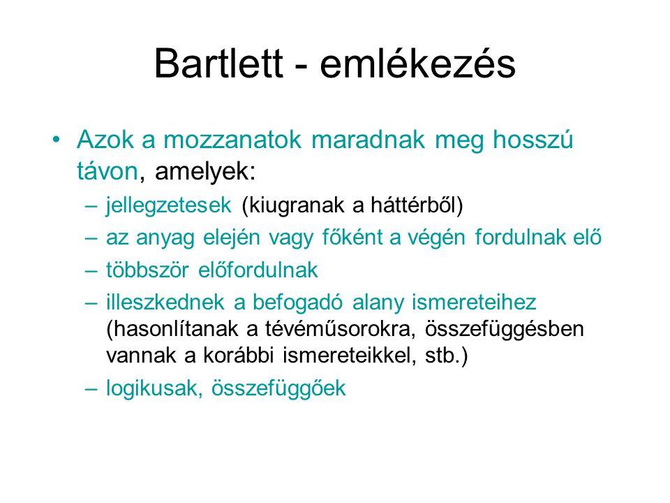 Bartlett - emlékezés Azok a mozzanatok maradnak meg hosszú távon, amelyek: –jellegzetesek (kiugranak a háttérből) –az anyag elején vagy főként a végén