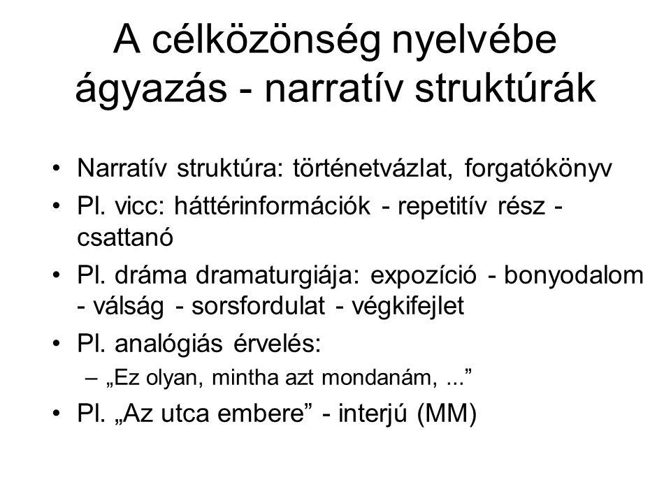 A célközönség nyelvébe ágyazás - narratív struktúrák Narratív struktúra: történetvázlat, forgatókönyv Pl. vicc: háttérinformációk - repetitív rész - c