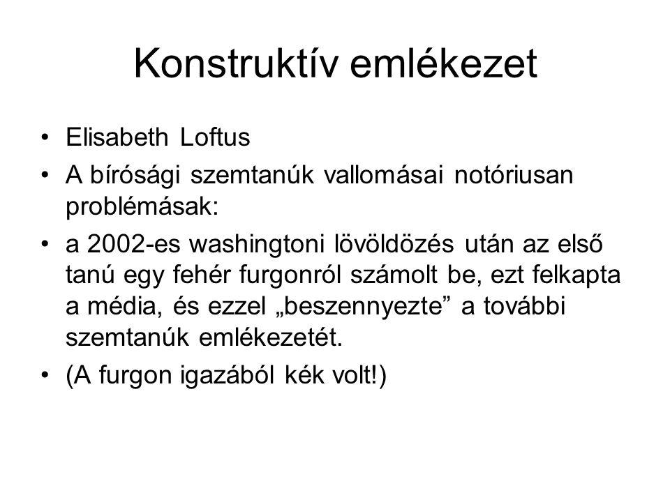 Konstruktív emlékezet Elisabeth Loftus A bírósági szemtanúk vallomásai notóriusan problémásak: a 2002-es washingtoni lövöldözés után az első tanú egy