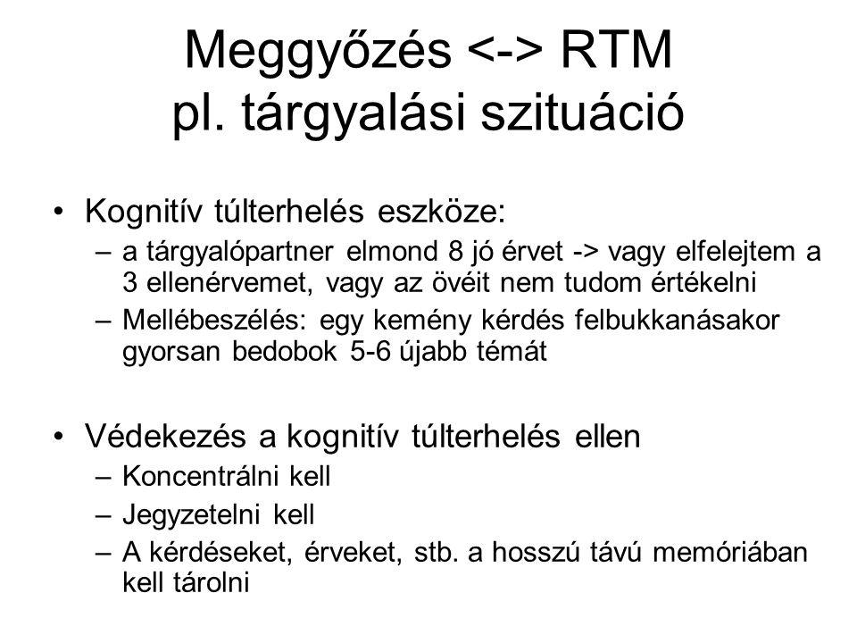 Meggyőzés RTM pl. tárgyalási szituáció Kognitív túlterhelés eszköze: –a tárgyalópartner elmond 8 jó érvet -> vagy elfelejtem a 3 ellenérvemet, vagy az
