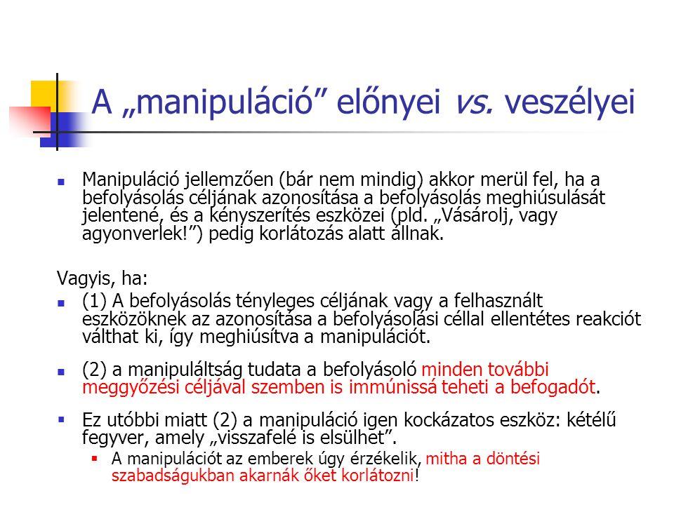 """A """"manipuláció előnyei vs."""