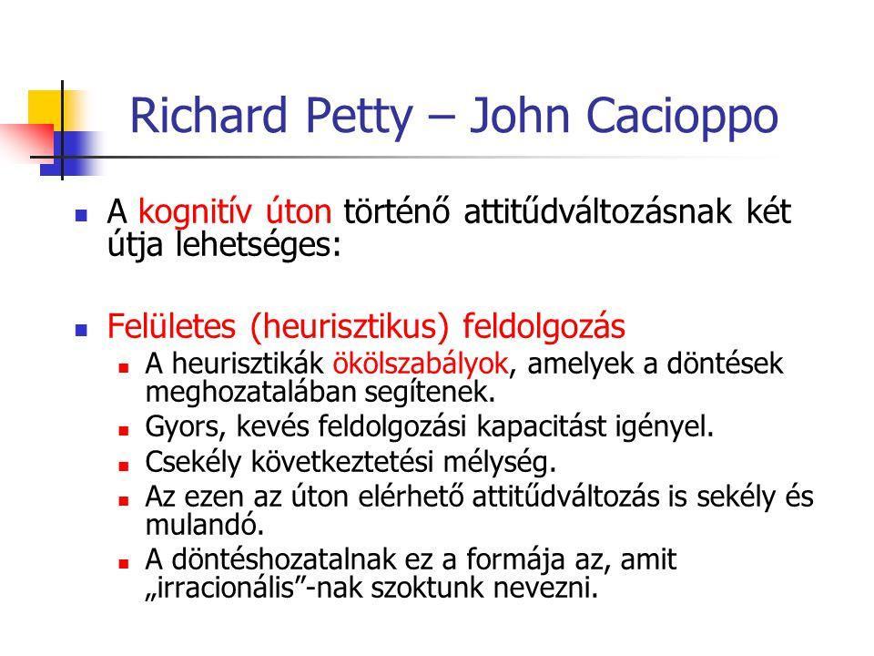Richard Petty – John Cacioppo A kognitív úton történő attitűdváltozásnak két útja lehetséges: Felületes (heurisztikus) feldolgozás A heurisztikák ökölszabályok, amelyek a döntések meghozatalában segítenek.