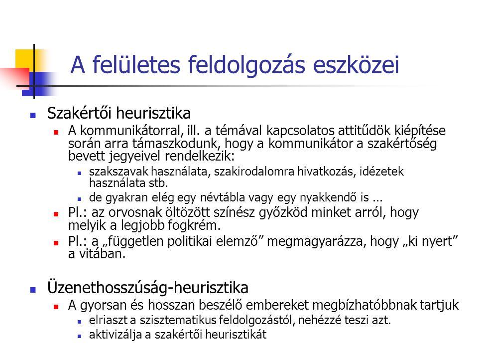 A felületes feldolgozás eszközei Szakértői heurisztika A kommunikátorral, ill.