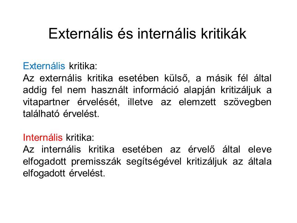 Externális és internális kritikák Externális kritika: Az externális kritika esetében külső, a másik fél által addig fel nem használt információ alapjá