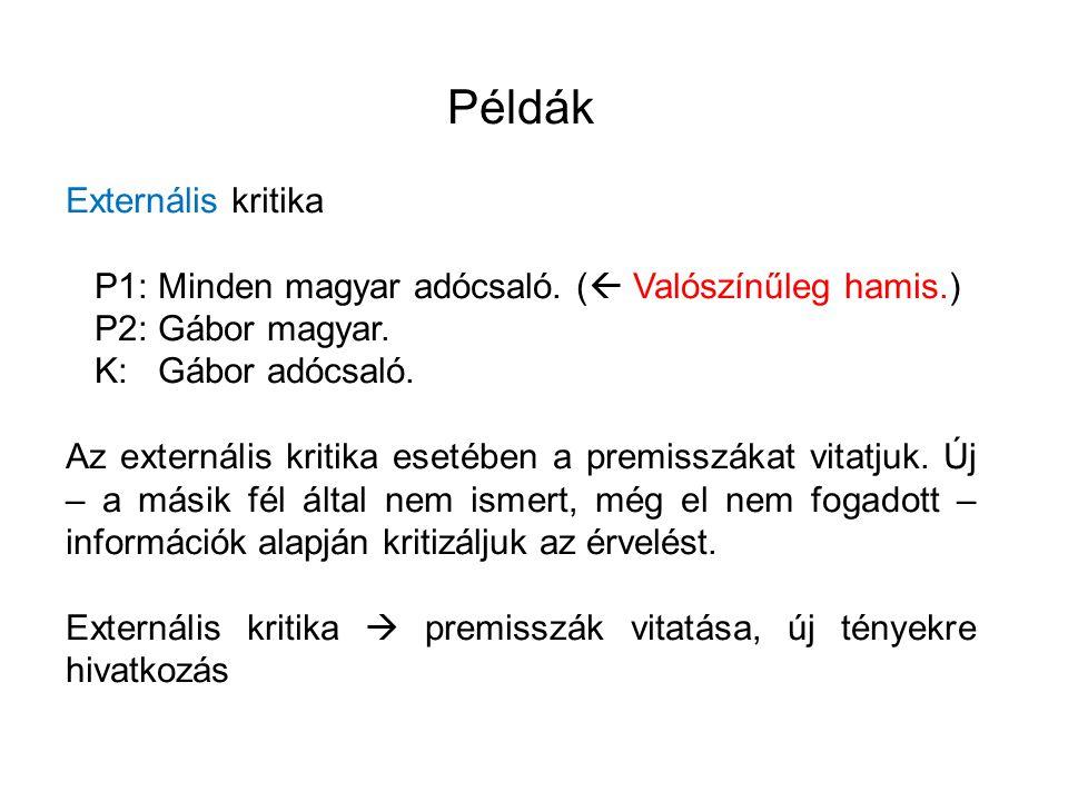 Példák Externális kritika P1: Minden magyar adócsaló. (  Valószínűleg hamis.) P2: Gábor magyar. K: Gábor adócsaló. Az externális kritika esetében a p