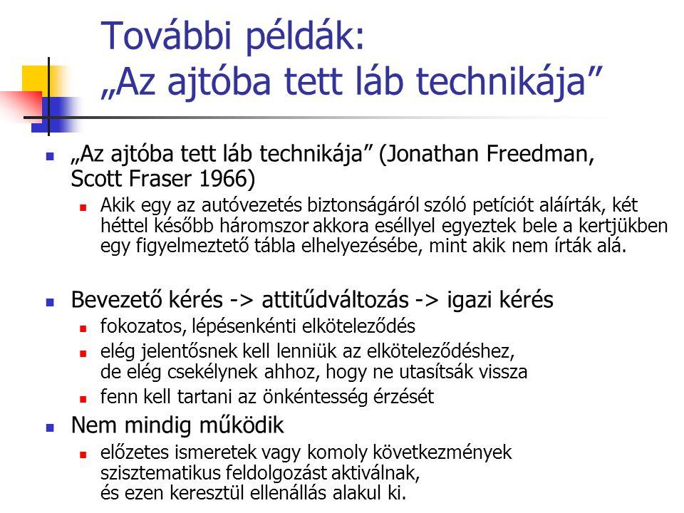 """További példák: """"Az ajtóba tett láb technikája"""" """"Az ajtóba tett láb technikája"""" (Jonathan Freedman, Scott Fraser 1966) Akik egy az autóvezetés biztons"""