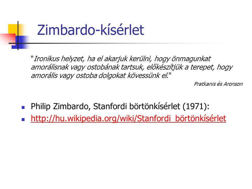Zimbardo-kísérlet Ironikus helyzet, ha el akarjuk kerülni, hogy önmagunkat amorálisnak vagy ostobának tartsuk, előkészítjük a terepet, hogy amorális vagy ostoba dolgokat kövessünk el. Pratkanis és Aronson Philip Zimbardo, Stanfordi börtönkísérlet (1971): http://hu.wikipedia.org/wiki/Stanfordi_börtönkísérlet