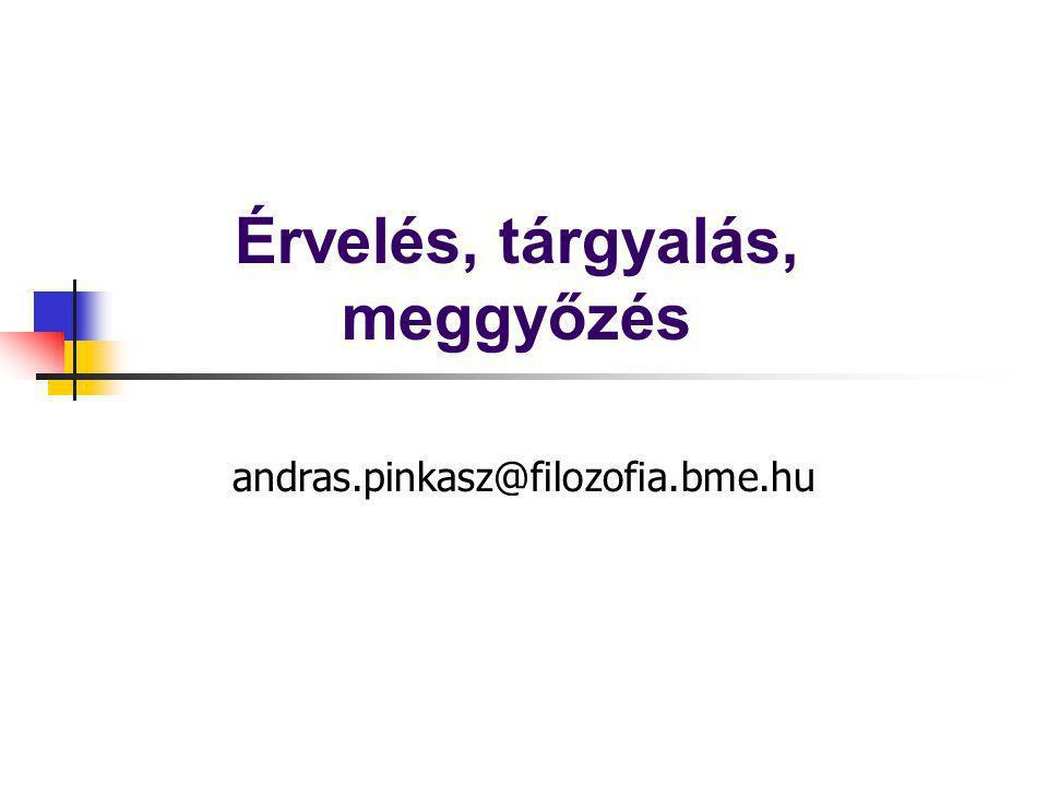 Érvelés, tárgyalás, meggyőzés andras.pinkasz@filozofia.bme.hu