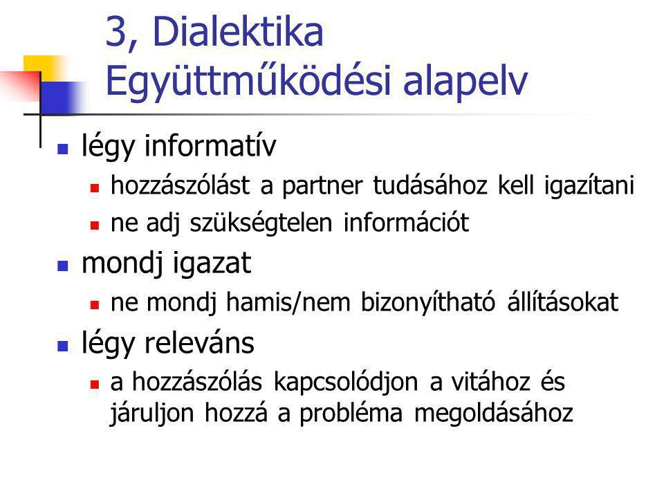 3, Dialektika Együttműködési alapelv légy informatív hozzászólást a partner tudásához kell igazítani ne adj szükségtelen információt mondj igazat ne mondj hamis/nem bizonyítható állításokat légy releváns a hozzászólás kapcsolódjon a vitához és járuljon hozzá a probléma megoldásához