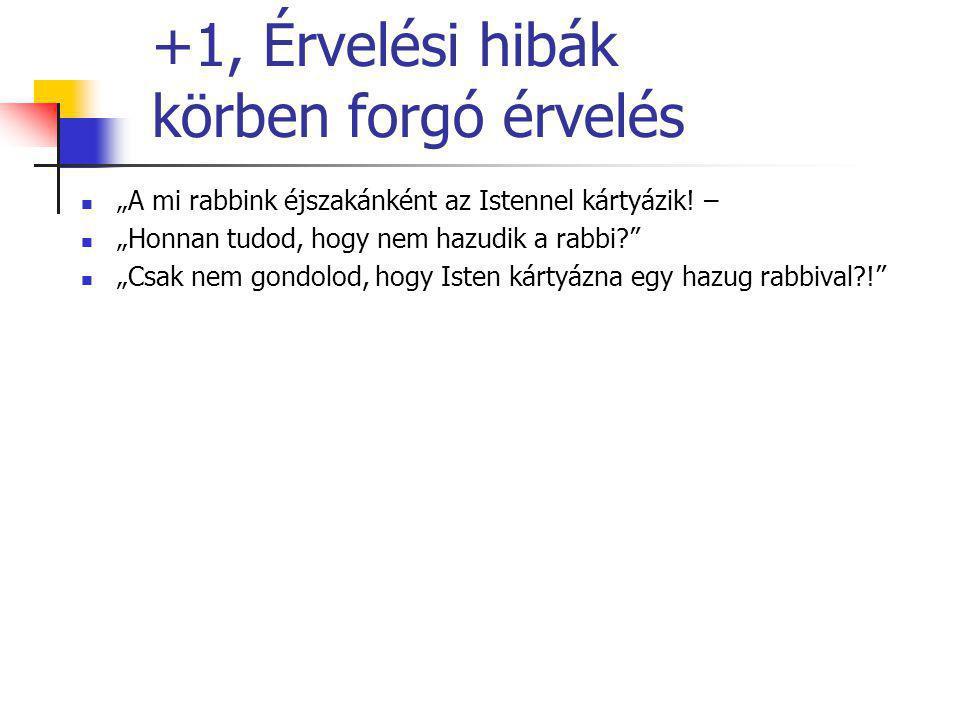 """+1, Érvelési hibák körben forgó érvelés """"A mi rabbink éjszakánként az Istennel kártyázik! – """"Honnan tudod, hogy nem hazudik a rabbi?"""" """"Csak nem gondol"""
