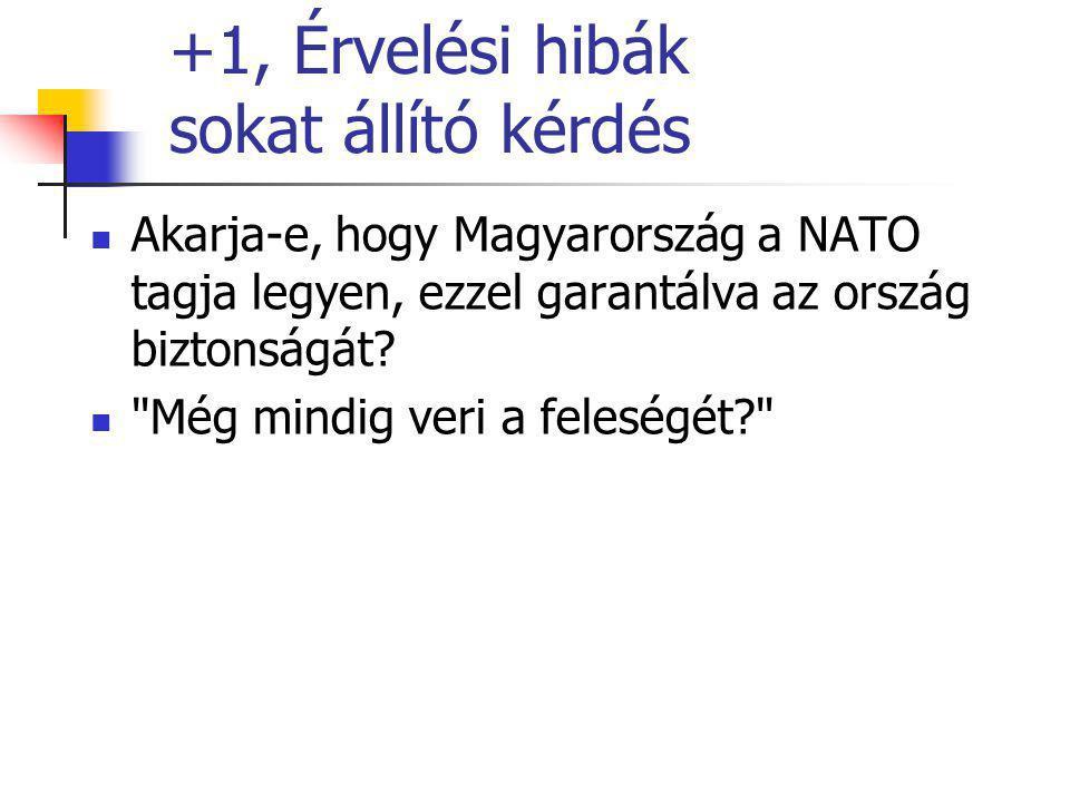 +1, Érvelési hibák sokat állító kérdés Akarja-e, hogy Magyarország a NATO tagja legyen, ezzel garantálva az ország biztonságát.
