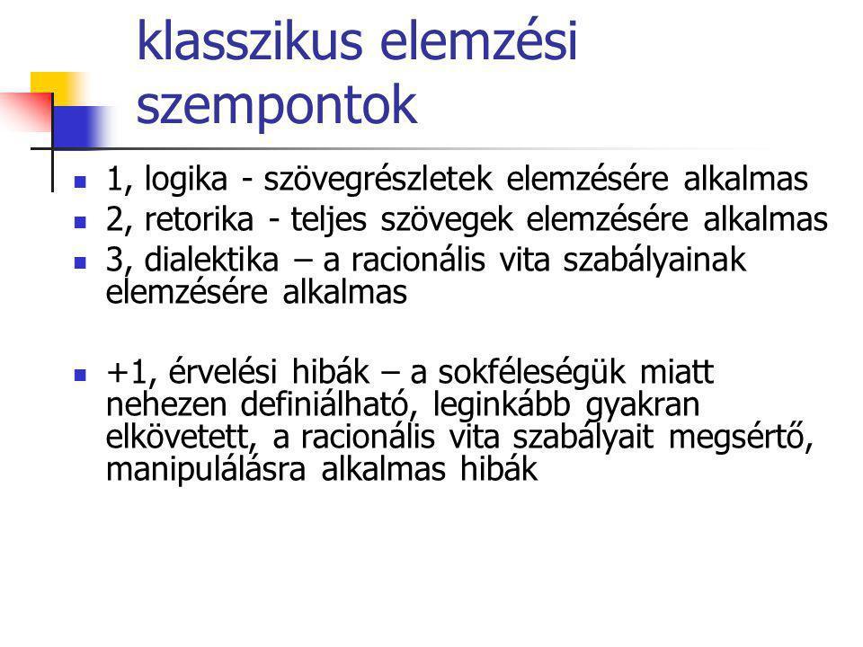 klasszikus elemzési szempontok 1, logika - szövegrészletek elemzésére alkalmas 2, retorika - teljes szövegek elemzésére alkalmas 3, dialektika – a rac
