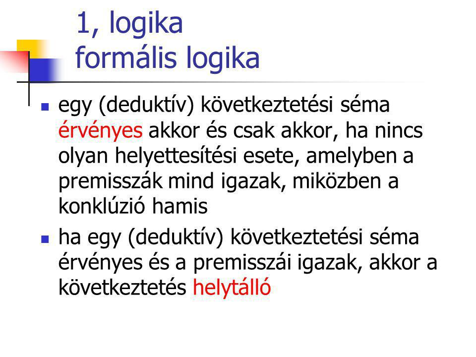 1, logika formális logika egy (deduktív) következtetési séma érvényes akkor és csak akkor, ha nincs olyan helyettesítési esete, amelyben a premisszák