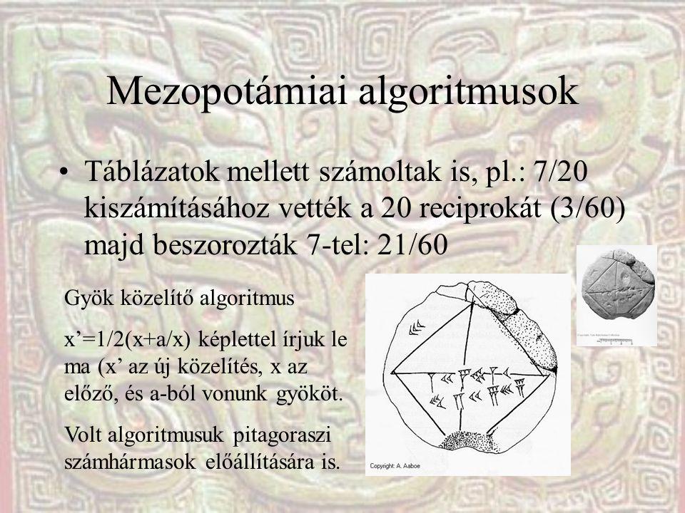 Mezopotámiai algoritmusok Táblázatok mellett számoltak is, pl.: 7/20 kiszámításához vették a 20 reciprokát (3/60) majd beszorozták 7-tel: 21/60 Gyök k