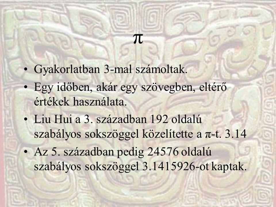 π Gyakorlatban 3-mal számoltak. Egy időben, akár egy szövegben, eltérő értékek használata. Liu Hui a 3. században 192 oldalú szabályos sokszöggel köze