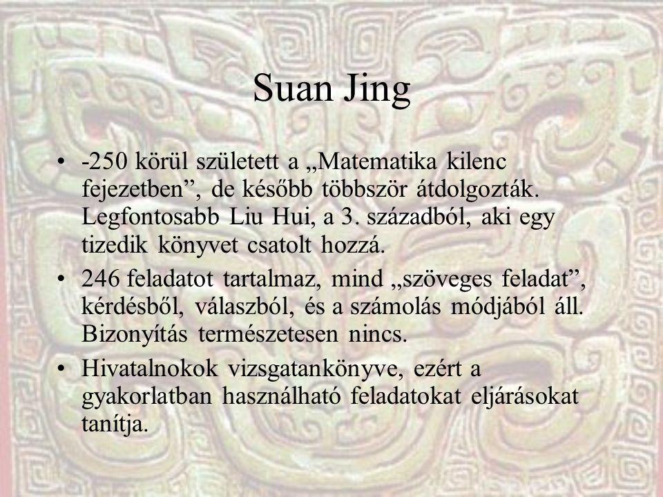 """Suan Jing -250 körül született a """"Matematika kilenc fejezetben"""", de később többször átdolgozták. Legfontosabb Liu Hui, a 3. századból, aki egy tizedik"""