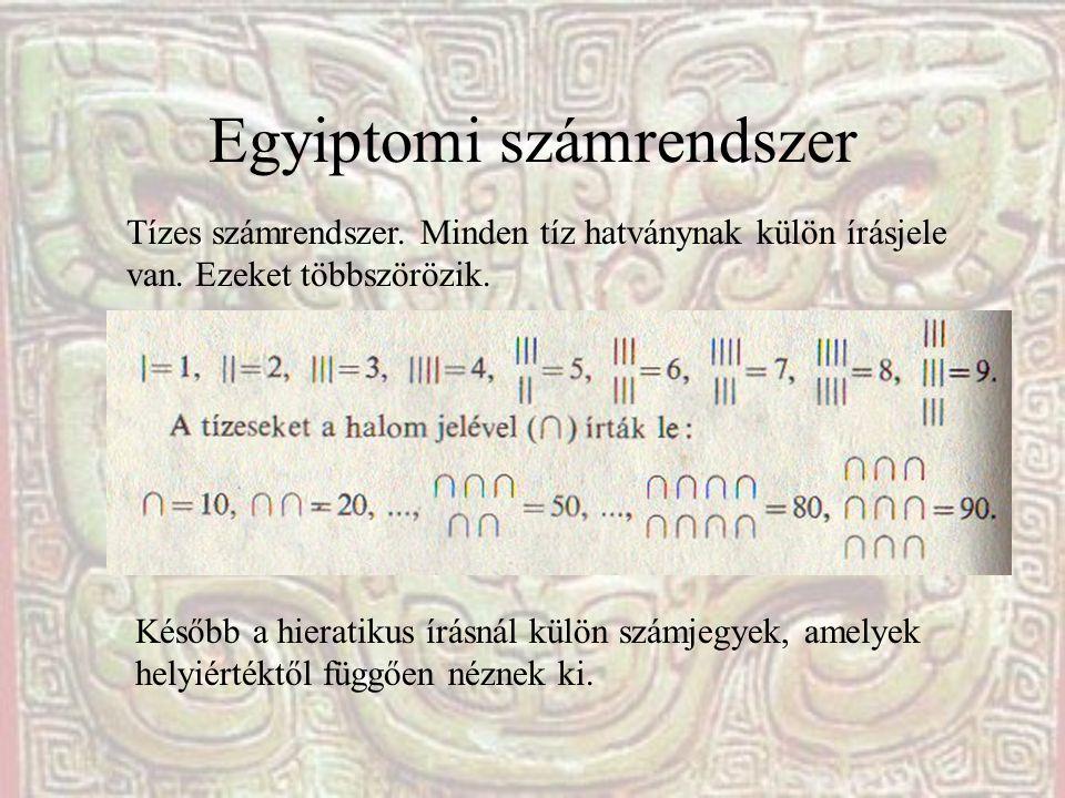 Egyiptomi számrendszer Tízes számrendszer. Minden tíz hatványnak külön írásjele van. Ezeket többszörözik. Később a hieratikus írásnál külön számjegyek