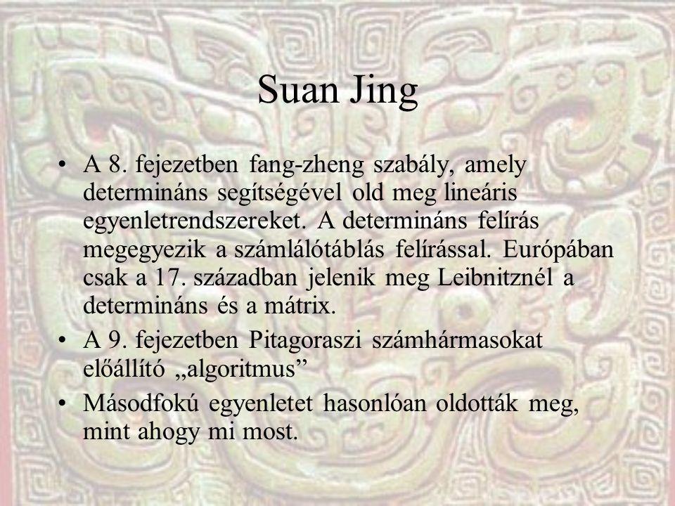 Suan Jing A 8. fejezetben fang-zheng szabály, amely determináns segítségével old meg lineáris egyenletrendszereket. A determináns felírás megegyezik a