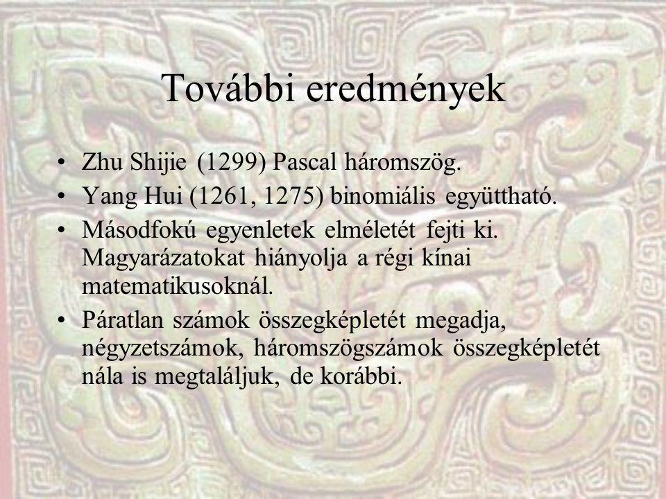 További eredmények Zhu Shijie (1299) Pascal háromszög. Yang Hui (1261, 1275) binomiális együttható. Másodfokú egyenletek elméletét fejti ki. Magyaráza