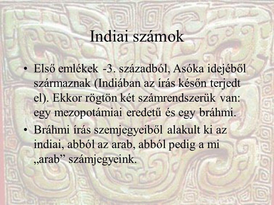 Indiai számok Első emlékek -3. századból, Asóka idejéből származnak (Indiában az írás későn terjedt el). Ekkor rögtön két számrendszerük van: egy mezo