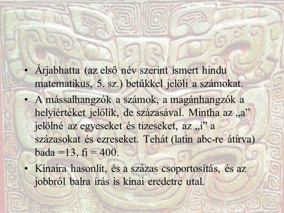 Árjabhatta (az első név szerint ismert hindu matematikus, 5. sz.) betűkkel jelöli a számokat. A mássalhangzók a számok, a magánhangzók a helyiértéket